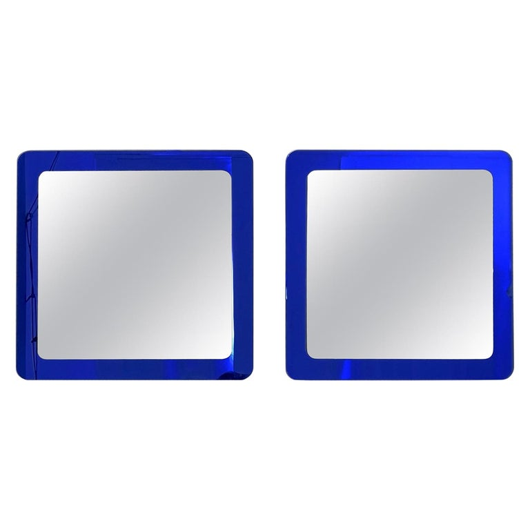 Pair of Large Square Royal Blue Wall Mirrors, Italy, 1970s  For Sale