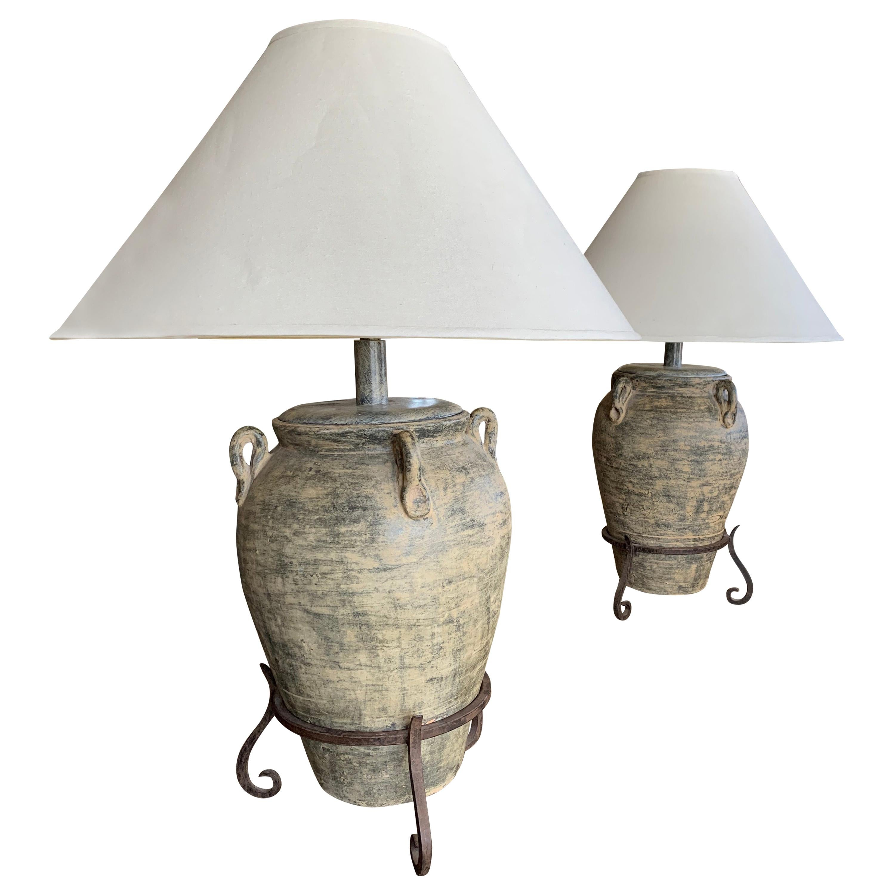 Pair of Large Steve Chase Antique Urn Lamps