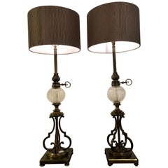 Pair of Large Stiffel Oil Lamps Each Electrified