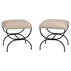 Pair of Large 'Strapontin' Shearling Stools by Design Frères