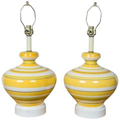 Pair of Large Striped 1960s Lamps