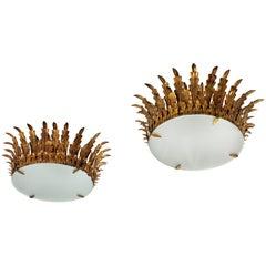 Pair of Large Sunburst Crown Flushmount Chandeliers in Wrought Gilt Iron
