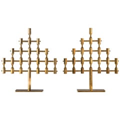 Pair of Large Swedish Candelabras in Brass by Lars Bergsten for Gusum