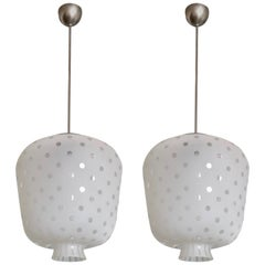 Pair of Large Swedish Glass Ceiling Lamps, 1930s