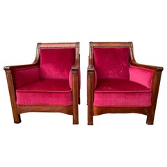 Pair of Large Swedish Jugend Mahogany Armchairs in Red Velvet Fabric