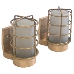 Pair of Large Swedish Midcentury Brass Marine Industrial Wall Sconces, 1930