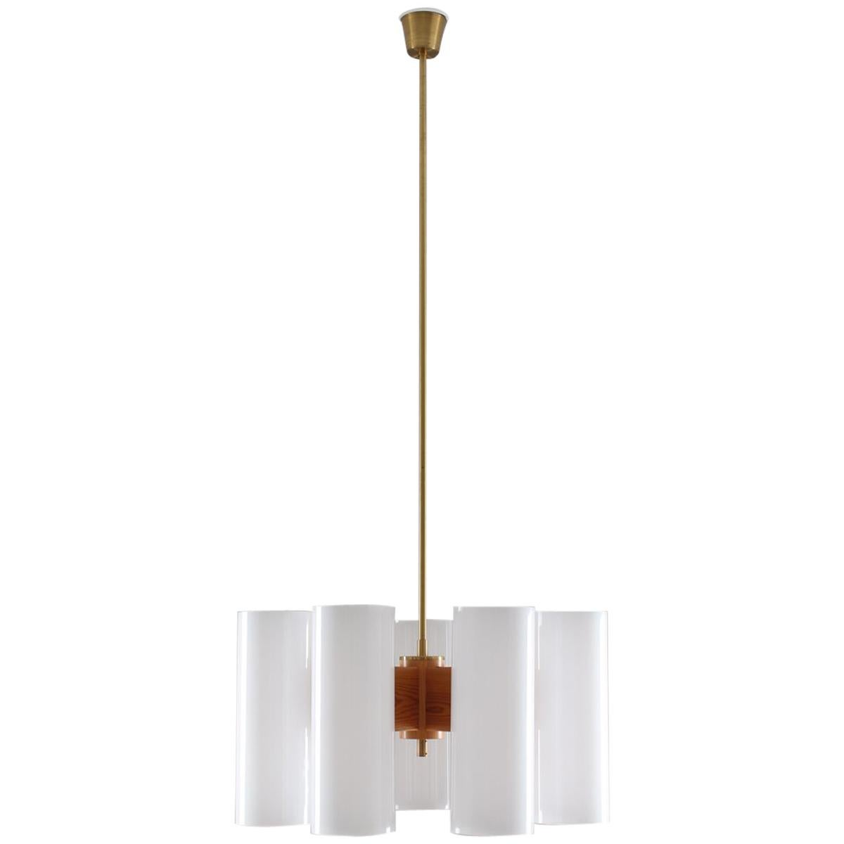Pair of Large Swedish Midcentury Chandeliers in Acrylic, Pine and Brass by Luxus