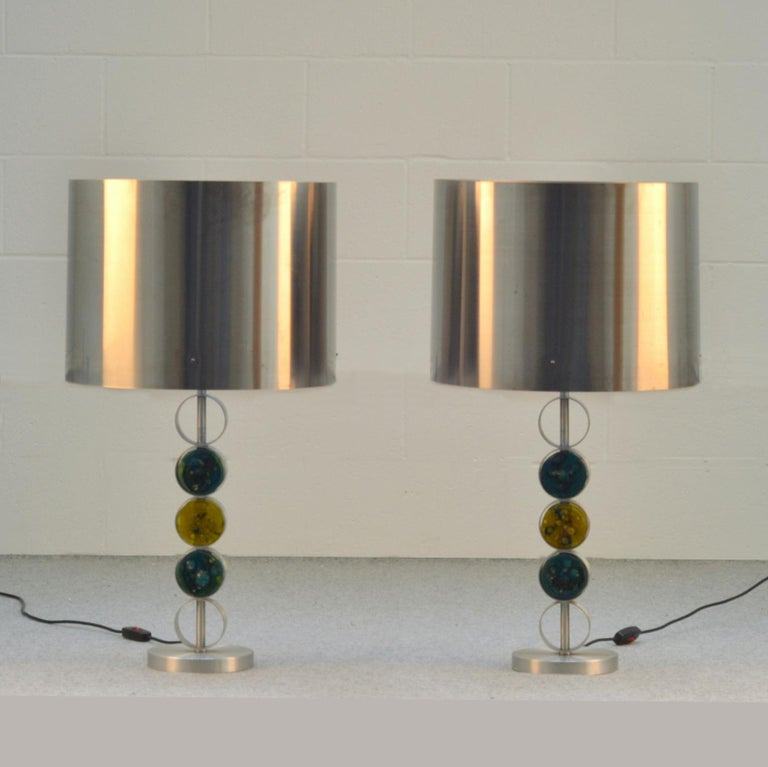 Mid-Century Modern Pair of Large Table Lamps by RAAK 1970's Attributed to Nanny Still For Sale