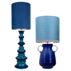 Pair of Large Table Lamps with New Silk Custom Made Lampshade René Houben, 1960s