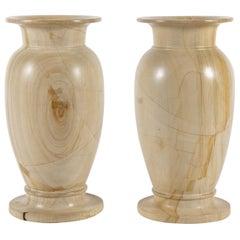 Pair of Large Teak Wood Marble Vases