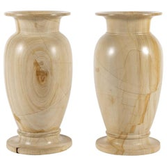 Pair of Large Teak Wood Marble Vases
