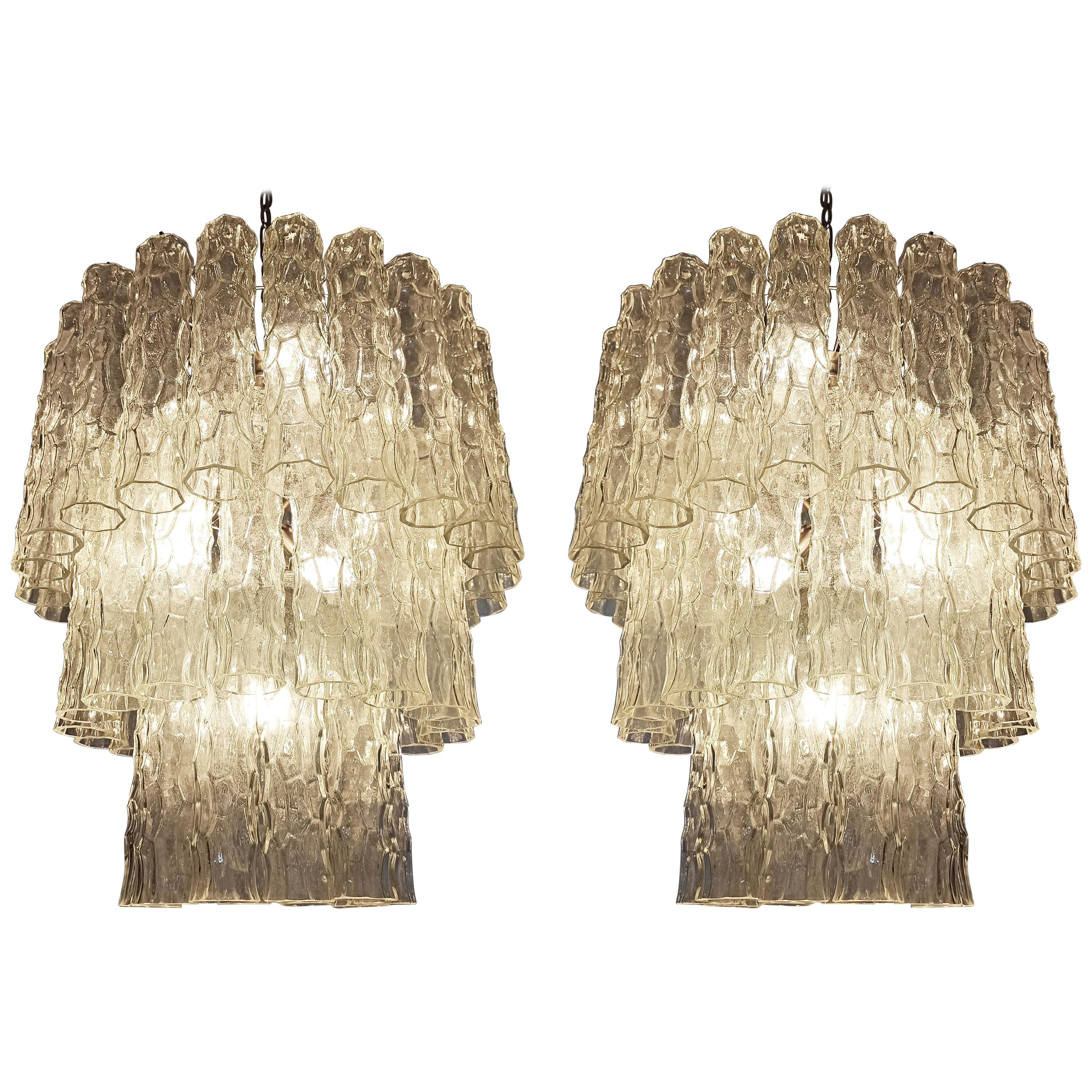 Pair of Large Three-Tier Murano Glass Tube Chandelier