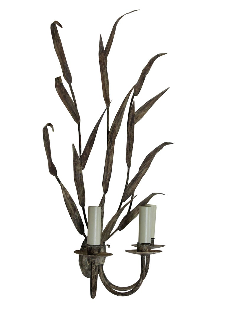 French Pair of Large Tole Leaf Wall Sconces