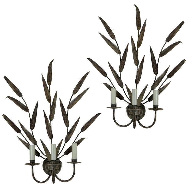 Pair of Large Tole Leaf Wall Sconces