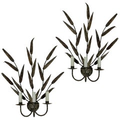 Pair of Large Tole Leafy Wall Sconces