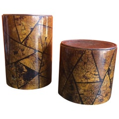 Pair of Large Tortoise Shell Candleholders by Maitland Smith