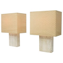 Pair of Large Travertine and Brass Table Lamps by Draenert Germany, 1970s