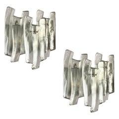 "Pair of Large Triple Panel ""Ice Block"" Glass Sconces by Kalmar, Austria, 1970s"