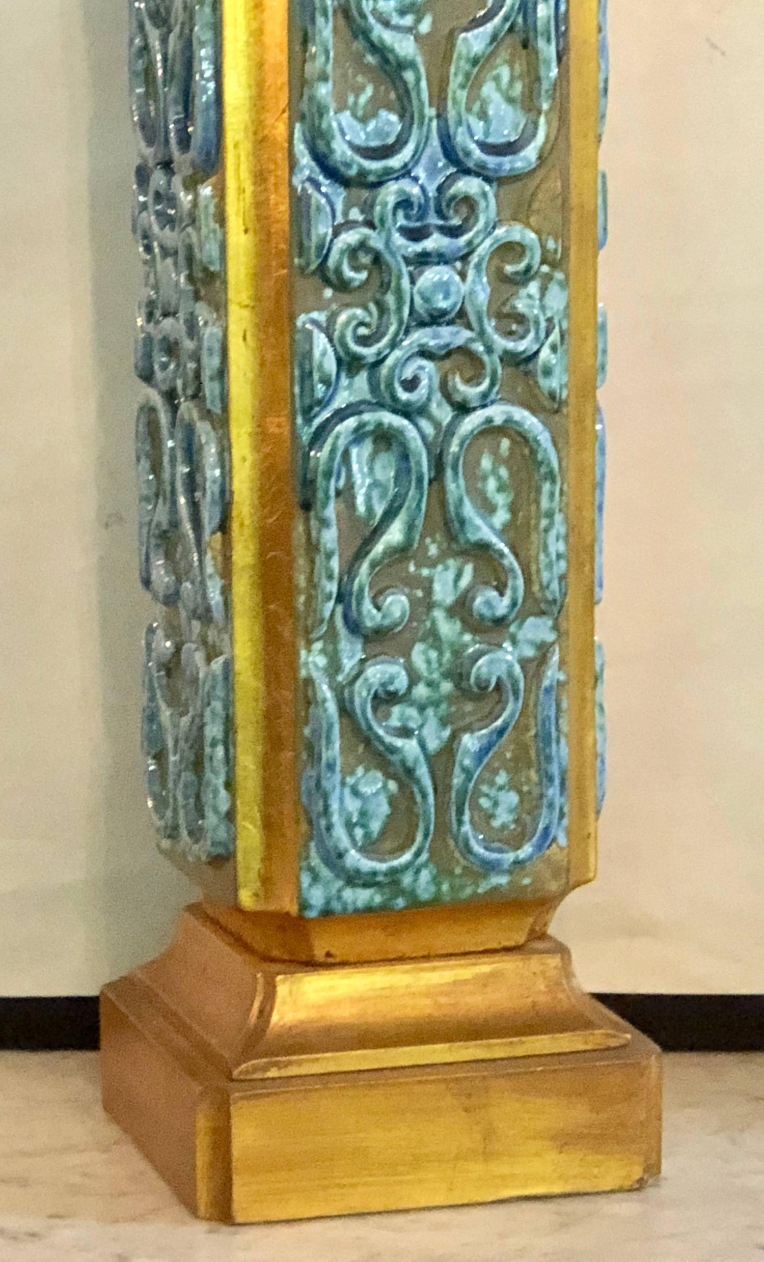 Pair of large turquoise ceramic jefferson poole pottery table lamps pair of large turquoise ceramic jefferson poole pottery table lamps for sale at 1stdibs mozeypictures Images
