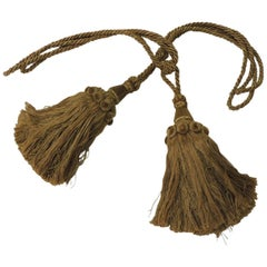 Pair of Large Twisted Silk Rope Gold Tassels