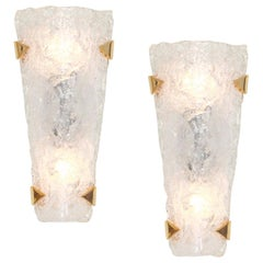 Pair of Large Vanity Angular Murano Glass Sconces by Hillebrand, Germany, 1960s