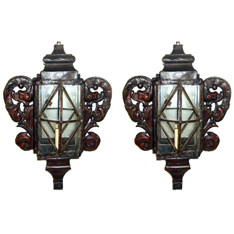 Pair of Large Venetian Tole Sconces