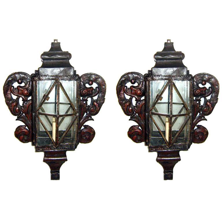 Pair of Large Venetian Tole Sconces For Sale