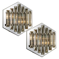 Pair of Large Venini Style Glass Sconces with Triedi Crystals, 1969