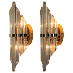 Pair of Large Venini Style Murano Glass and Gold-Plated Sconces, Italy