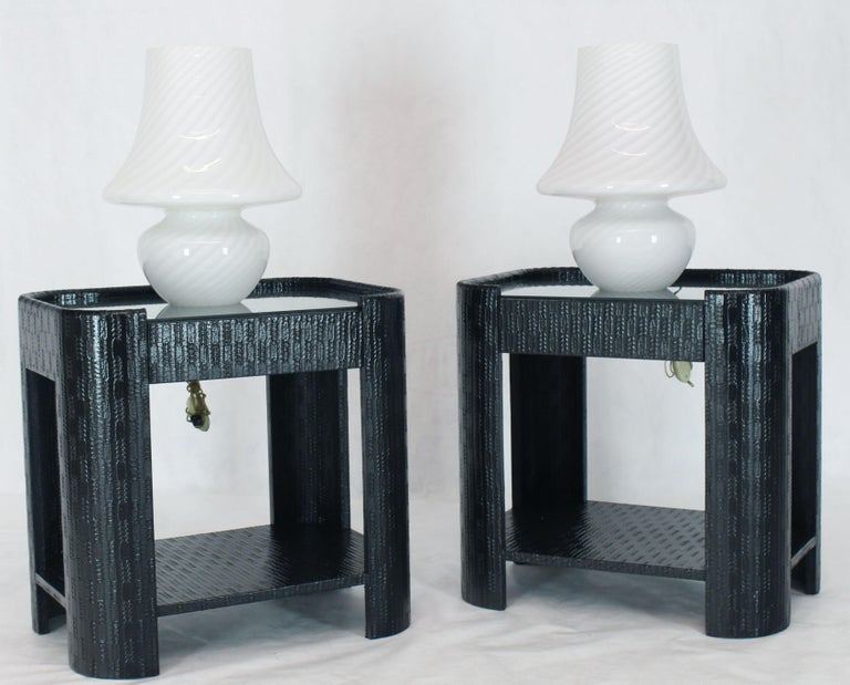 Pair of very fine large Italian swirl milk Murano glass table lamps. One piece of blown glass design.