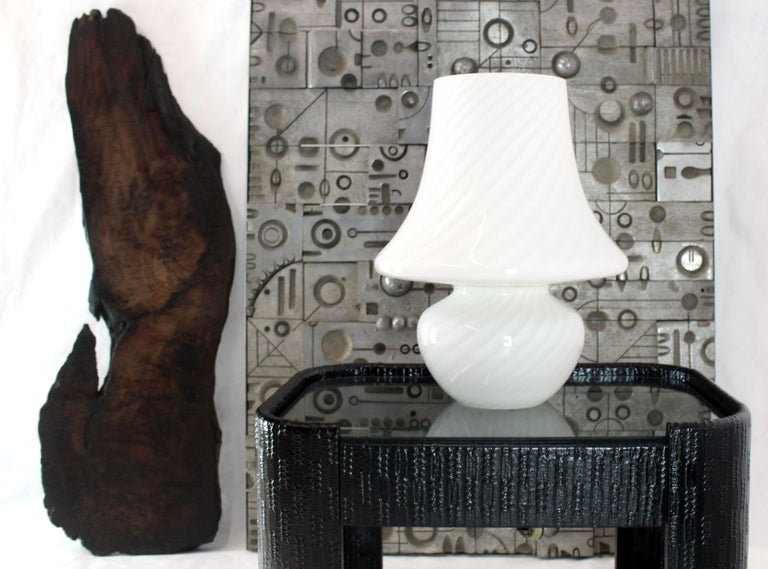 Italian Pair of Large Vetri Swirl Milk Murano Glass Mushroom Lamps For Sale