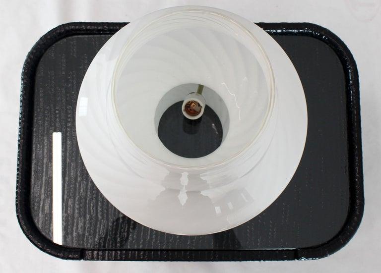 Art Glass Pair of Large Vetri Swirl Milk Murano Glass Mushroom Lamps For Sale
