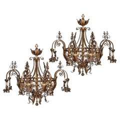 Pair of Large Victorian 8-Light Brass Chandeliers