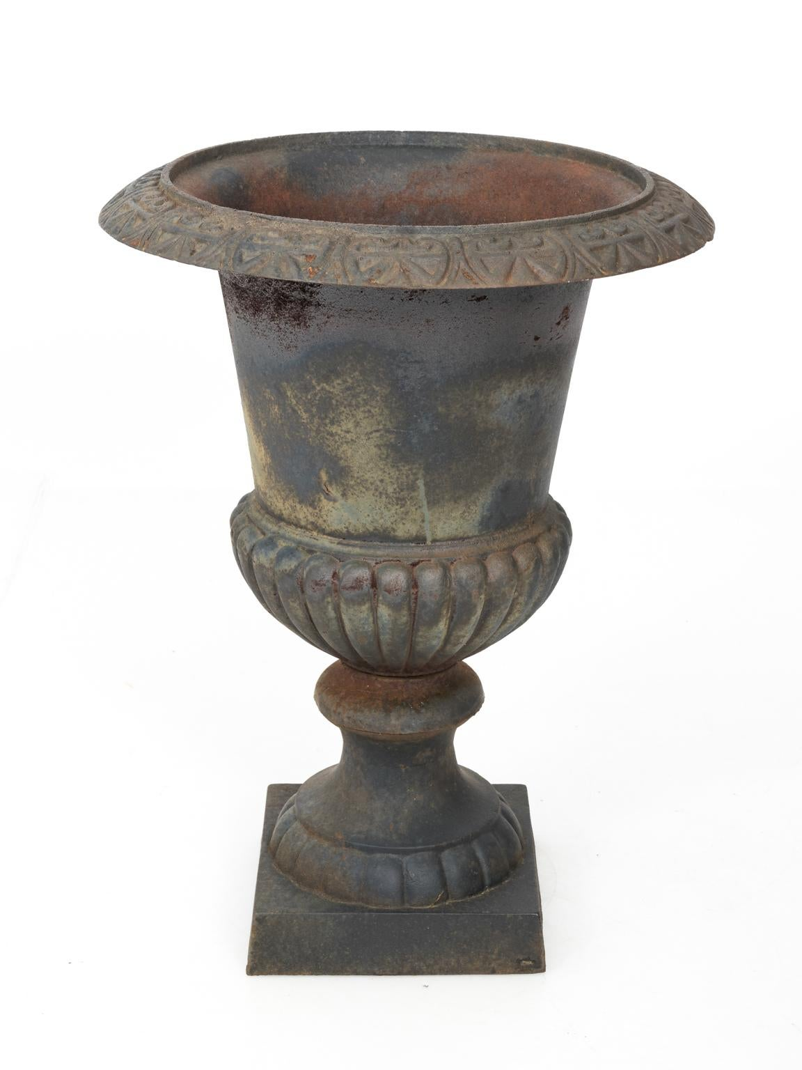 Pair Of Large Victorian Cast Iron Garden Urns For Sale 12
