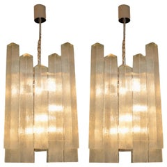 Pair of Large Vintage 1960s Glass Chandeliers by Doria Leuchten