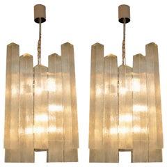Pair of Large Vintage 1960s Glass Chandeliers by Doria Leuchten