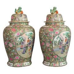 Pair of Large Vintage Baluster Urns, Oriental, Ceramic, Art Deco, circa 1940