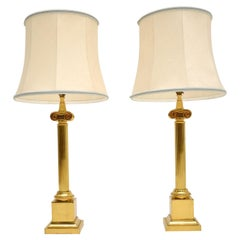 Pair of Large Vintage Brass Table Lamps
