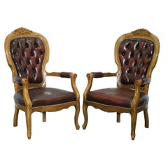 Pair of Large Vintage Chesterfield Oxblood Leather French Style Carver Armchairs