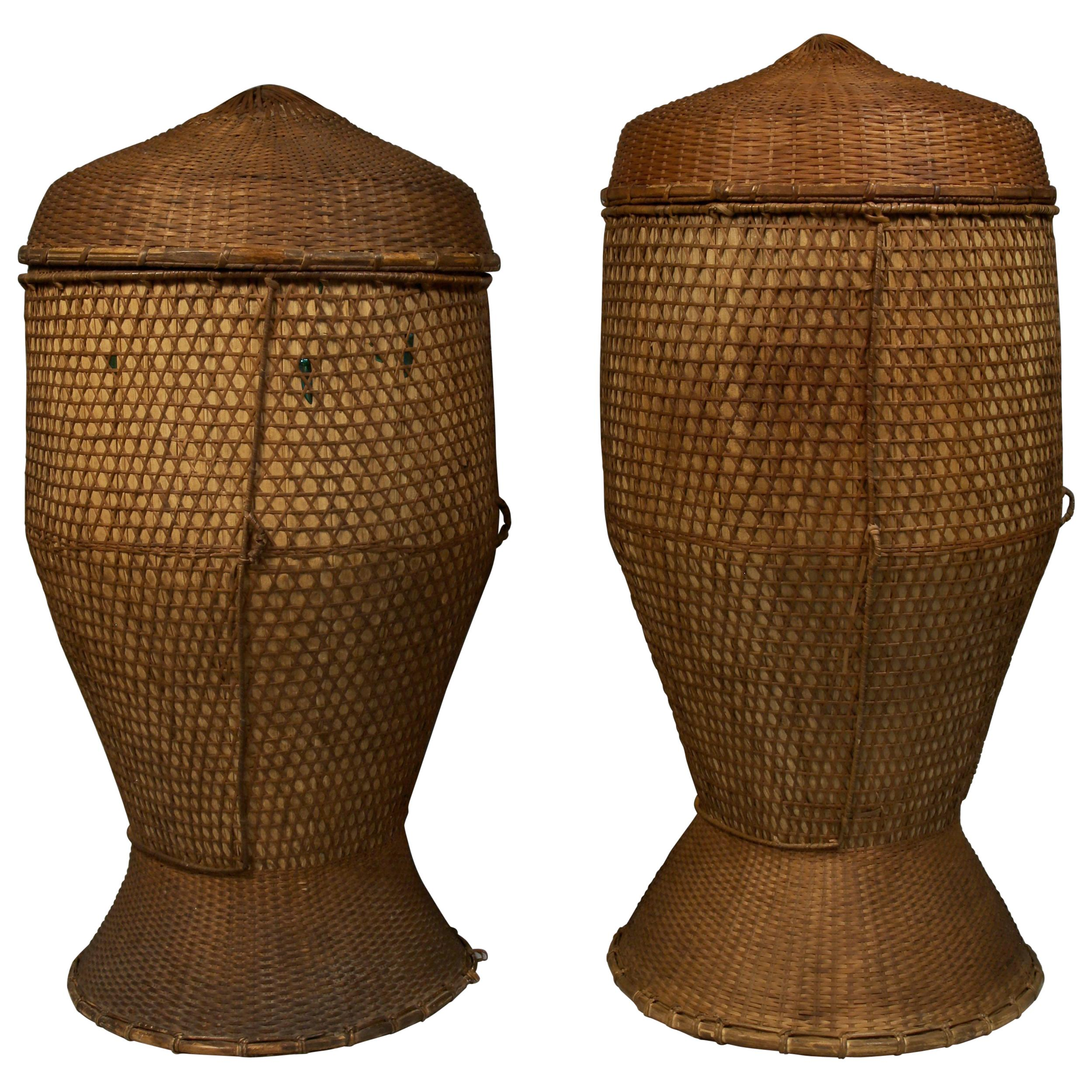 Pair of Large Vintage Grain Storage Baskets, Thailand, Mid-20th Century