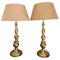 Pair of Large Vintage Midcentury Brass Table Lamps