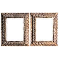 Pair of Large Vintage Ornately Hand Carved Wooden Folk Art Styled Picture Frames