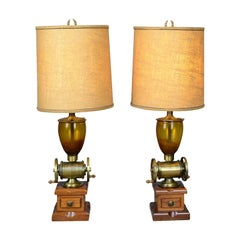 Pair of Large Vintage Table Lamps in the Form of Coffee Grinders