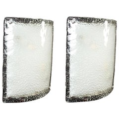 Pair of Large Vistosi Murano Glass Sconces or Wall Lights, 1970