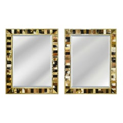 Pair of Large Wall Hanging Mirrors in Horn with Brass Trim, 1970s