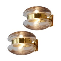 Pair of Large Wall Lamps in Brass and Art Glass