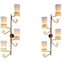 Pair of Large Wall Sconces 4 lights, France 1950