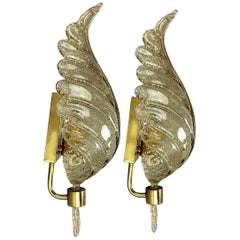 Pair of Large Wall Sconces Barovier & Toso Gold Glass Murano, Italy, 1960