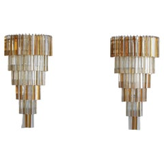 Pair of Large Wall Sconces with 'Trilobi' Glass, Italy, 1980s