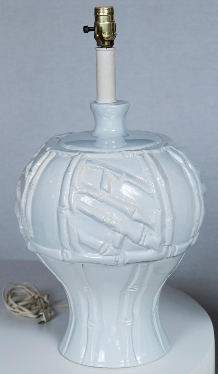 Pair of Large White Ceramic Faux Bamboo Lamps, 1970s In Excellent Condition For Sale In Stamford, CT